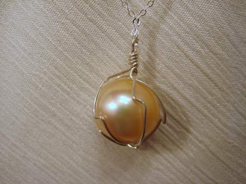Golden South Sea Single  pearl necklace for sale