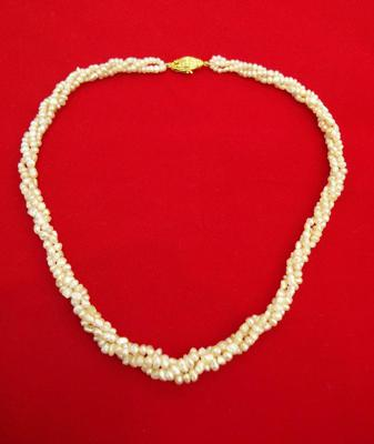 Graduated Twisted Strand Natural Basra Pearl Necklace