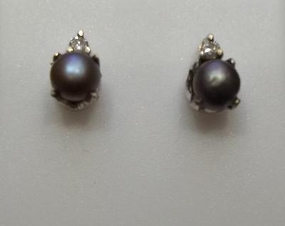 Grey Natural Saltwater Pearl Earrings on 18k Gold