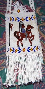 Indian on Horse Beaded Purse Closeup