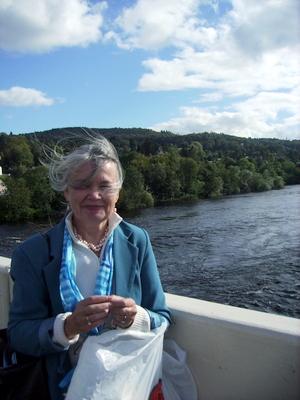 Kari on River Tay Bridge at Perth Scotland