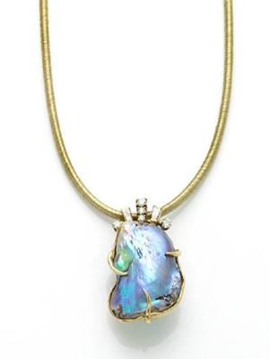 Large Abalone Pearl Diamond And Gold Pendant Necklace At Bonhams