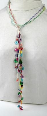 Long Colorful Muscatine Pearl Button Necklace