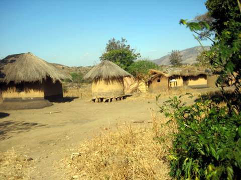 Huts in Malawi Village