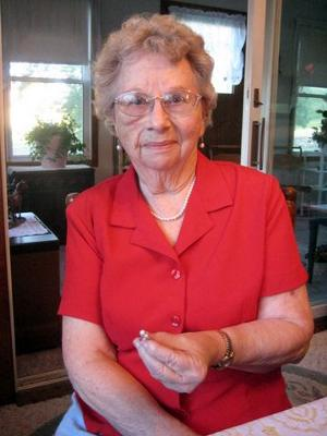 Verna Olson and her special natural pearl ring