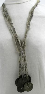 Muscatine Black Pearl Button Necklace on Gray Iowa Wool