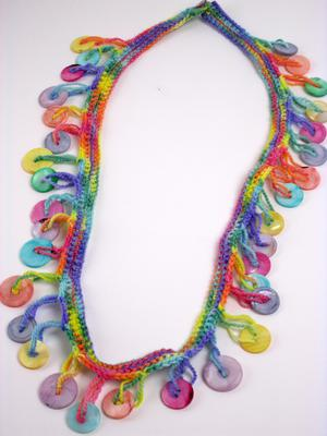 Muscatine Button Necklace Crocheted on Colorful Wool