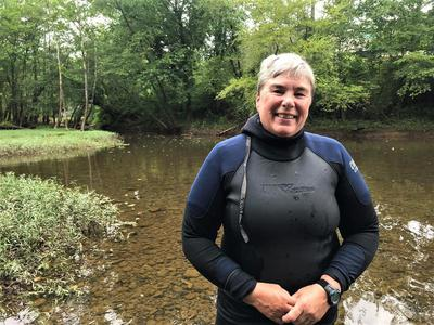 Biologist Janet Clayton has studied freshwater mussels for much of her 30-year career. Brittany Patterson / Ohio Valley ReSource