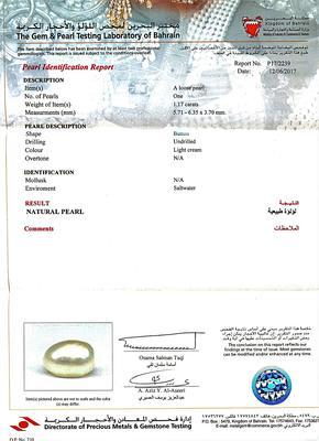 Certificate Natural 1.17 carat Basra Pearl Pendant on 18k Gold