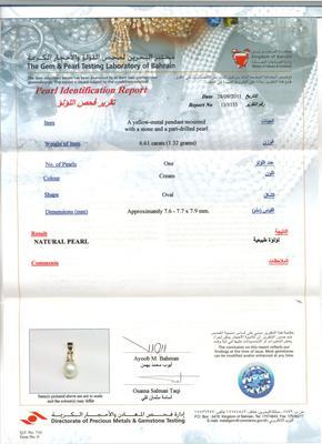 Natural 3 carat Basra Pearl Pendant with Diamond Certificate