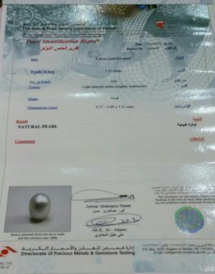 1.53 carat Basra Pearl Certificate