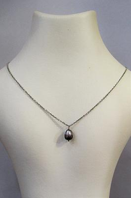 Natural Arabian Gulf Pearl on a 18k White Gold Chain 1+ carats