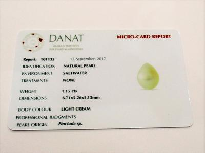 Certificate Natural Arabian/Persian Gulf Basra Pearl Pendant on 18k Gold