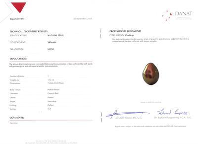 Certificate Natural Arabian/Persian Gulf Basra Pearl Pinkish Brown on 18k White Gold