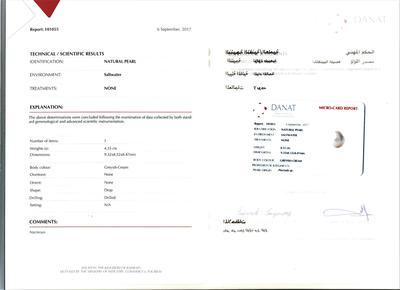 Certificate Natural Basra 4.35 carat Drop Shaped Pearl