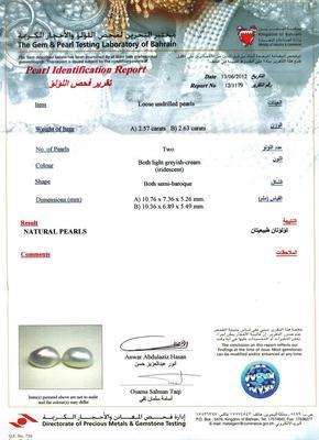 Certificate - Natural Basra Drop Pearl Earrings