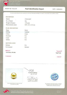 Certificate - Natural Basra Pearl - 1.99 carat