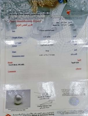Natural Basra Pearl 2.25 carats Drop Shape 7mm