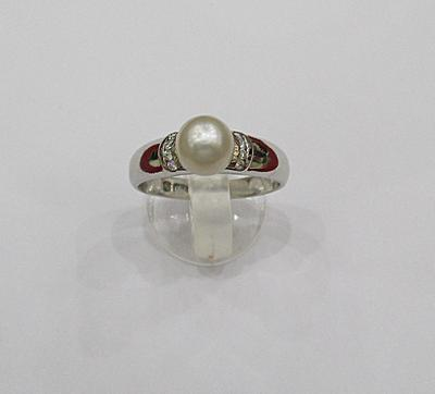 Natural Basra Pearl 2+ct Ring With Diamonds for Sale
