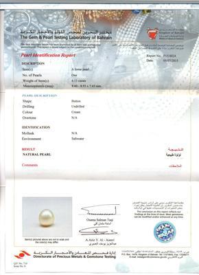 4.13 carat Basra Pearl certificate
