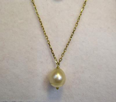 Natural Basra Pearl Attached to an 18k Gold Chain