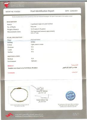 Natural Basra Pearl Bracelet Certificate
