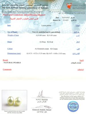 Certificate Natural Basra Pearls