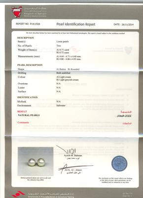 Natural Basra Pearl Earrings - Certificate