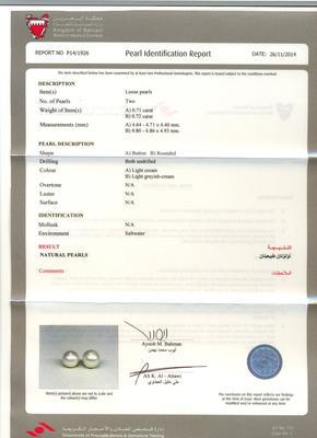 Natural Basra Pearl Earrings - Certificate
