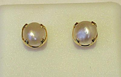Natural Basra Pearl Earrings Light Cream on 18k Gold