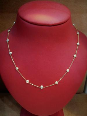 Natural Basra Pearl Necklace 12.95 carats on 18k Gold