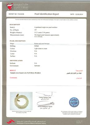 Natural Basra Pearl Necklace - Certificate