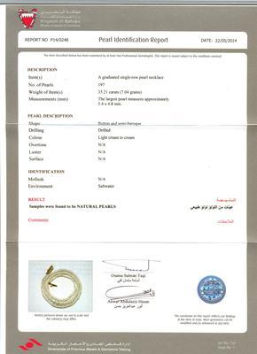 Natural Basra Pearl Necklace - Certificate