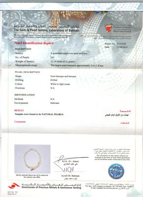 Natural Basra Pearl Necklace - 31 carats certificate