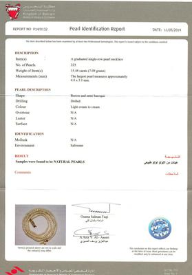 35.48 ct Basra Pearl Necklace - Certificate
