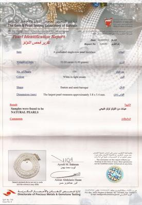 Natural Basra Pearl Necklace   &  32.04 Carats Certificate