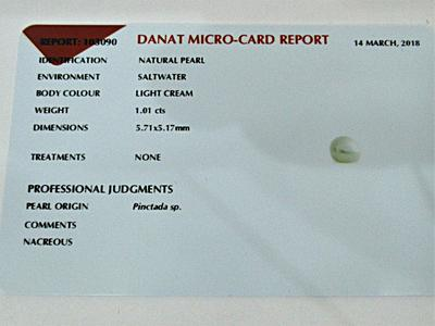 Natural Basra Pearl Pendant 1 carat
