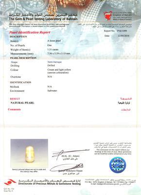 Certificate Natural Basra Pearl Pendant 1+ carat 7mm