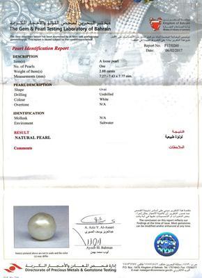 Certificate - Natural Basra Pearl Pendant 2+ carats 18K Gold