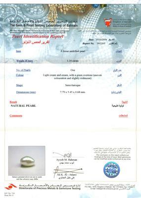 Natural Basra Pearl Pendant Certificate