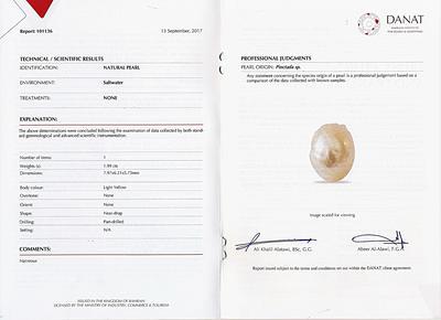 Natural Basra Pearl Pendant 7mm 18k White Gold