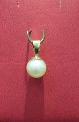 Natural Basra Pearl Pendant - 7mm Near Round Shaped