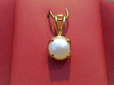 Natural Basra Pearl Pendant Button Shape 1+ carat 7mm