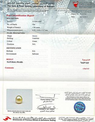 Natural Basra Pearl Pendant in 18K Gold - Certificate