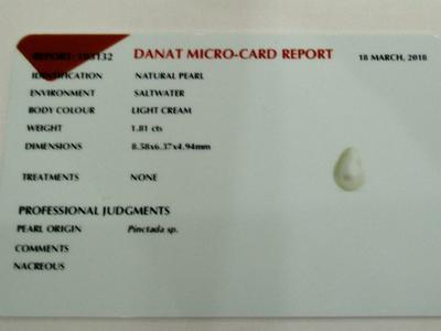Natural Basra Pearl Pendant Near Drop 8mm 18k Gold