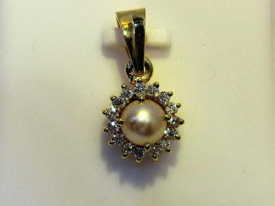 Natural Basra Pearl Pendant Near Round with Diamonds