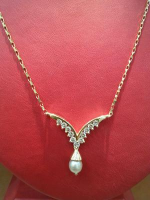 Natural Basra Pearl Pendant Necklace with Diamonds