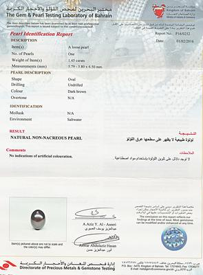 Natural Basra Pearl Pendant Surrounded with Diamonds - Certificate