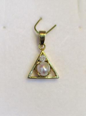Natural Basra Pearl Pendant with Diamond on 18k Gold