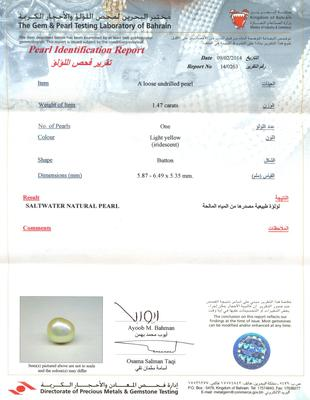 Natural Basra Pearl Pendant with Diamonds Certificate
